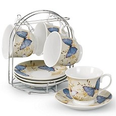 Butterfly Motif Set of 4 Coffee Cups