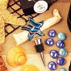 Blue Starfish Arte Murano Bottle Stopper