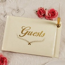 Warm Regards Guest Book & Pen w/Gold Accents