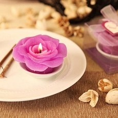 Signature Rose Scented Candle w/Dish (3 colors)
