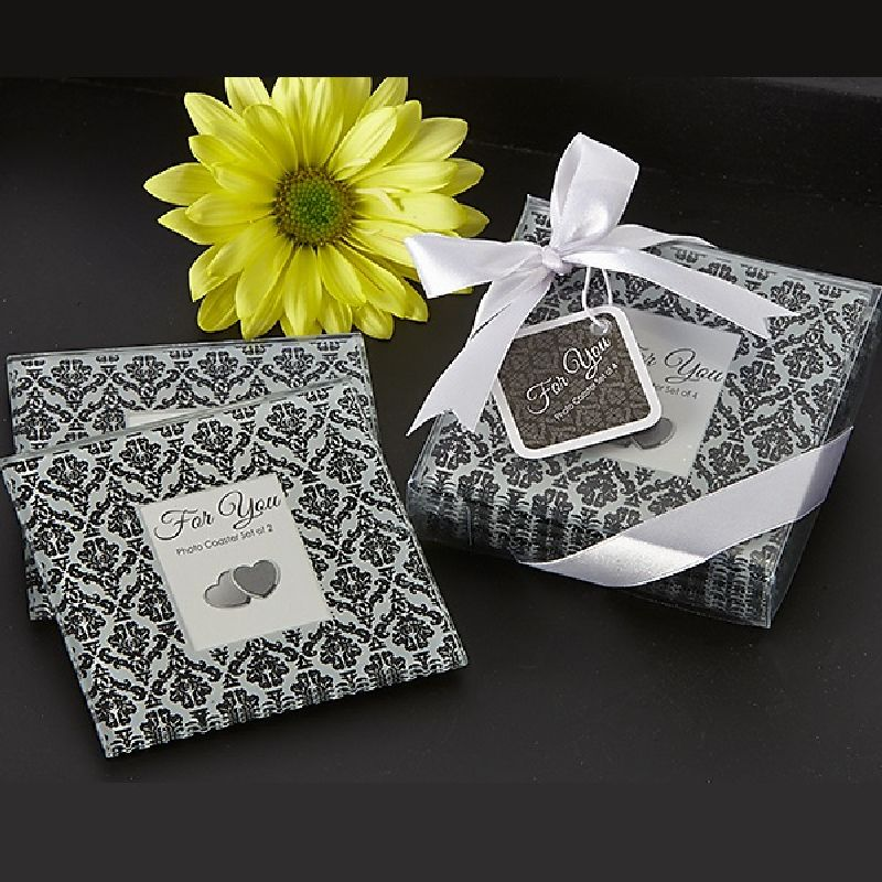 Classic Damask Black & White Photo Coaster (Set of 4)