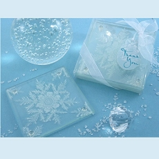 Shimmering Snow Crystal Frosted Snowflake Glass Coasters (Set of 2)