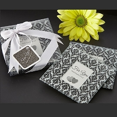 Classic Damask Black & White Photo Coaster (Set of 2)