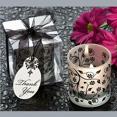 Frosted Elegance Black & White Tea Light Candle Holder (4)