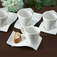 Swish Cup and Biscotti Plates (Set of 4)
