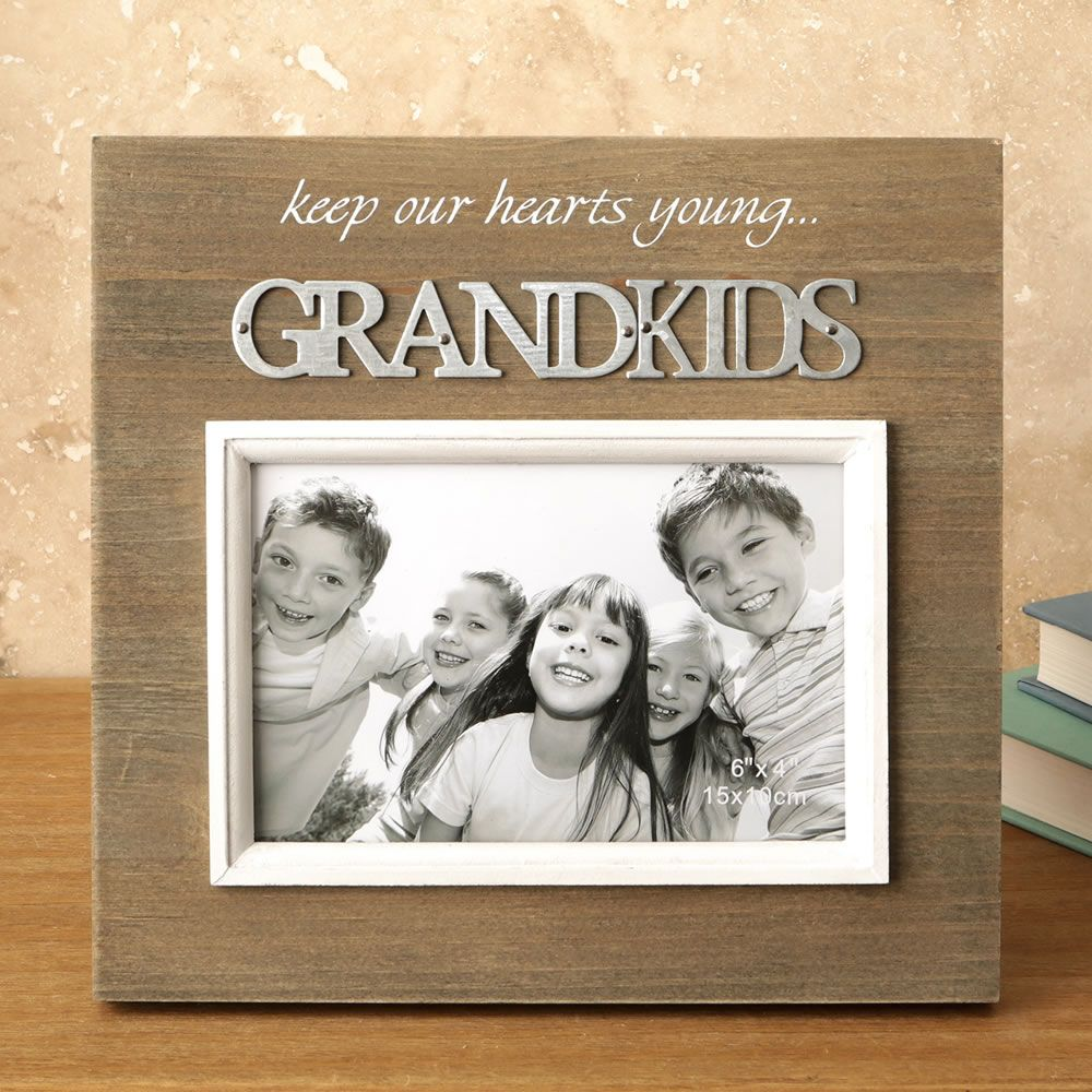 Wood Frame With Raised Metal Words - 6 X 4 - Grandkids|fashion craft|