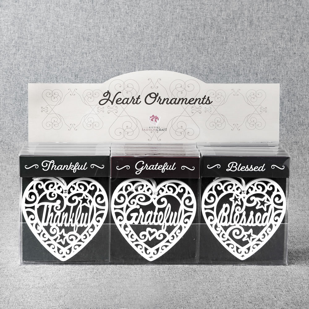Heart Ornaments - Blessed - Thankful - Grateful