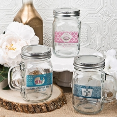 12 Ounce Personalized Glass Mason Jar/Silver Metal Screw Top-Misc