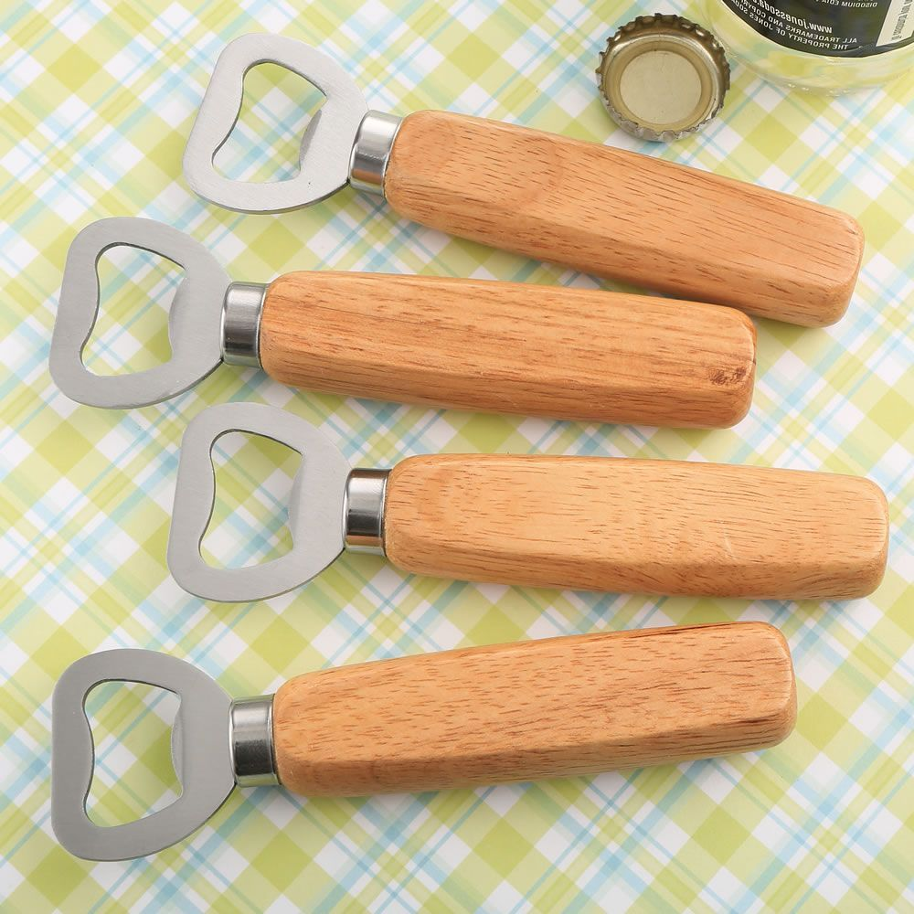 Wood Handle Bottle Opener With Solid Stainless Steel Top Opener