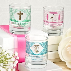 Clearly Custom Round Shot Glass/Votive Candle Holder - Baby