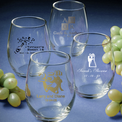 Personalized Stemless Wine Glasses - Celebration