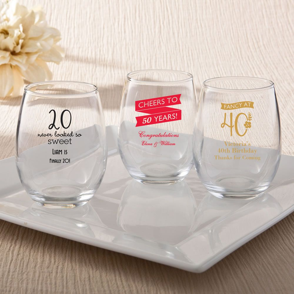 Personalized Stemless Wine Glasses - Birthday|Fashion Craft|