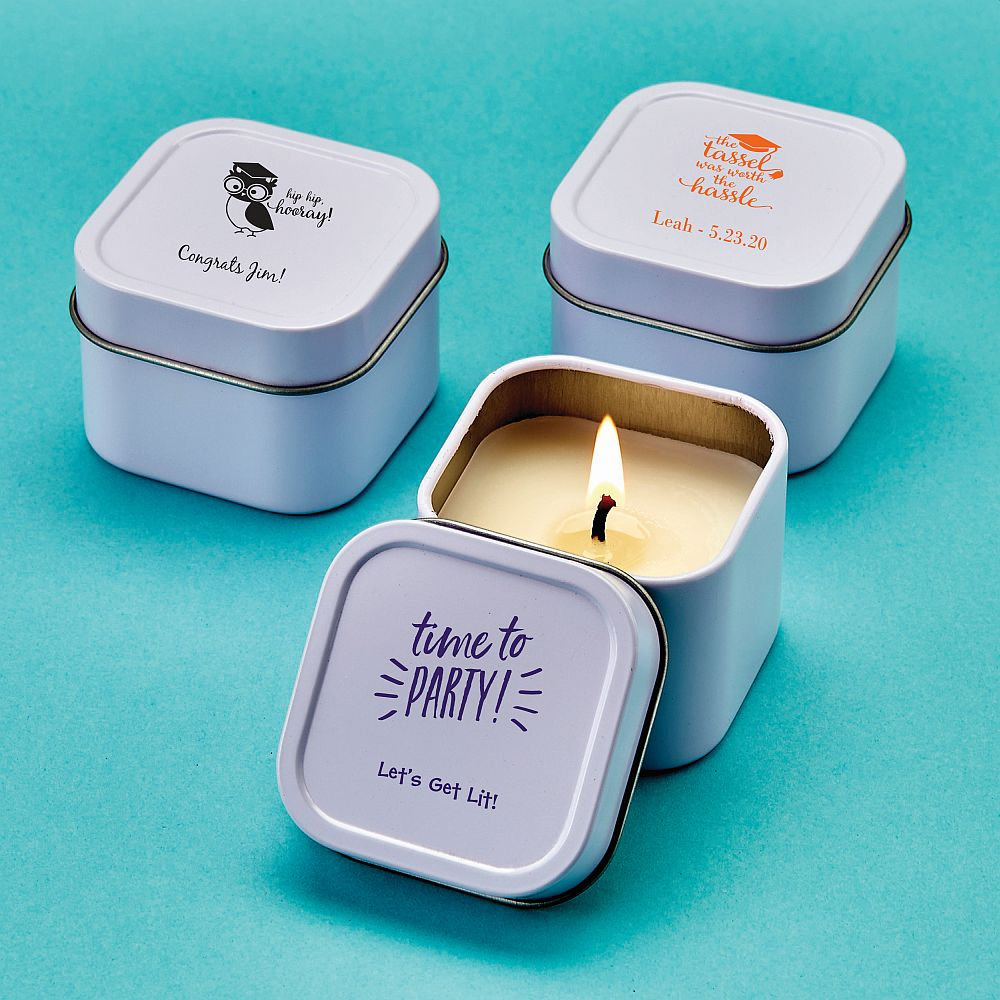 Design Your Own Direct Screen Printed Candle Tin - Graduation