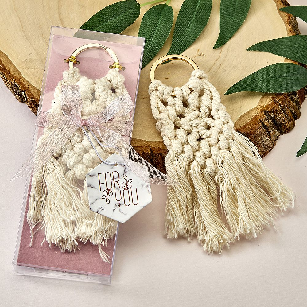 Macrame Boho Key Chain With Gold Ring