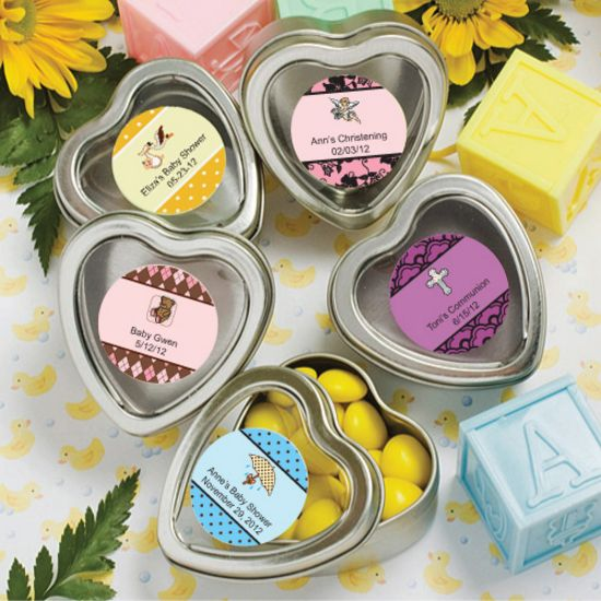 Personalized Silver Heart Mint Tins - Baby