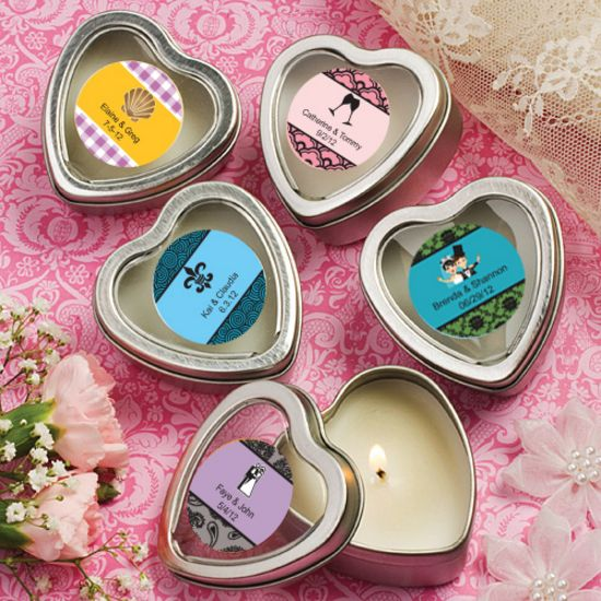 Personalized Scented Heart Travel Candles
