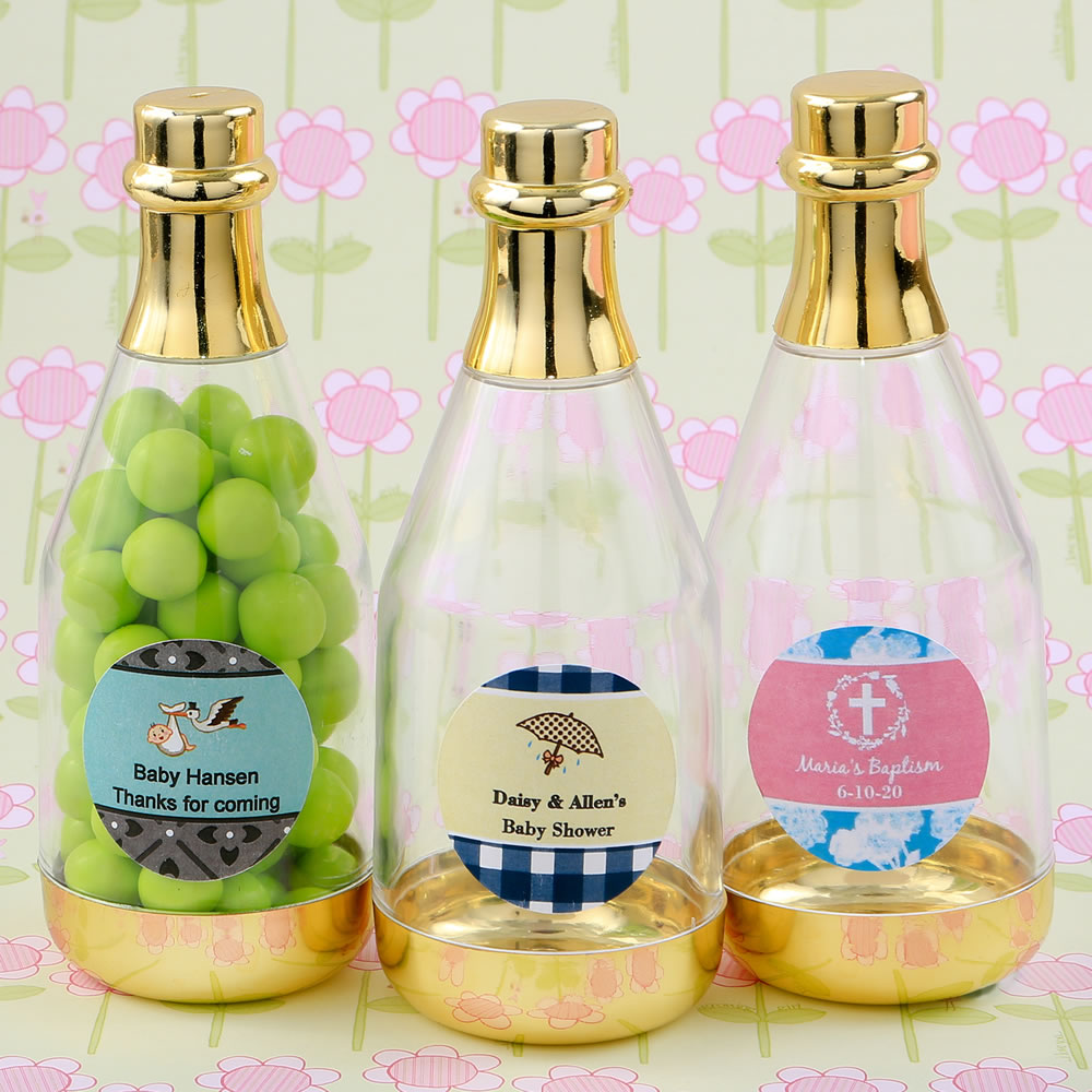 Personalized Gold Accented Clear Champagne Bottle Container-Baby