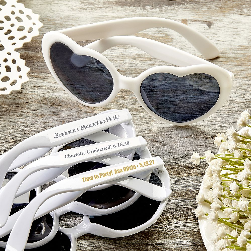 Personalized Metallic Heart Shaped White Sunglasses -Graduation