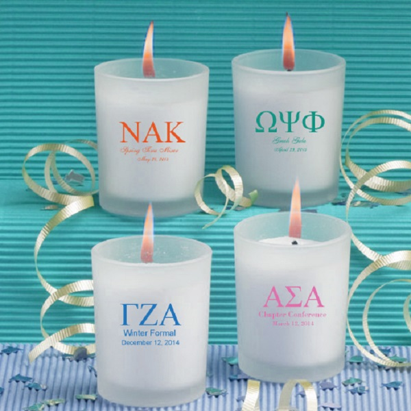 Frosted Glass Candle Holder w/Wax (greek)