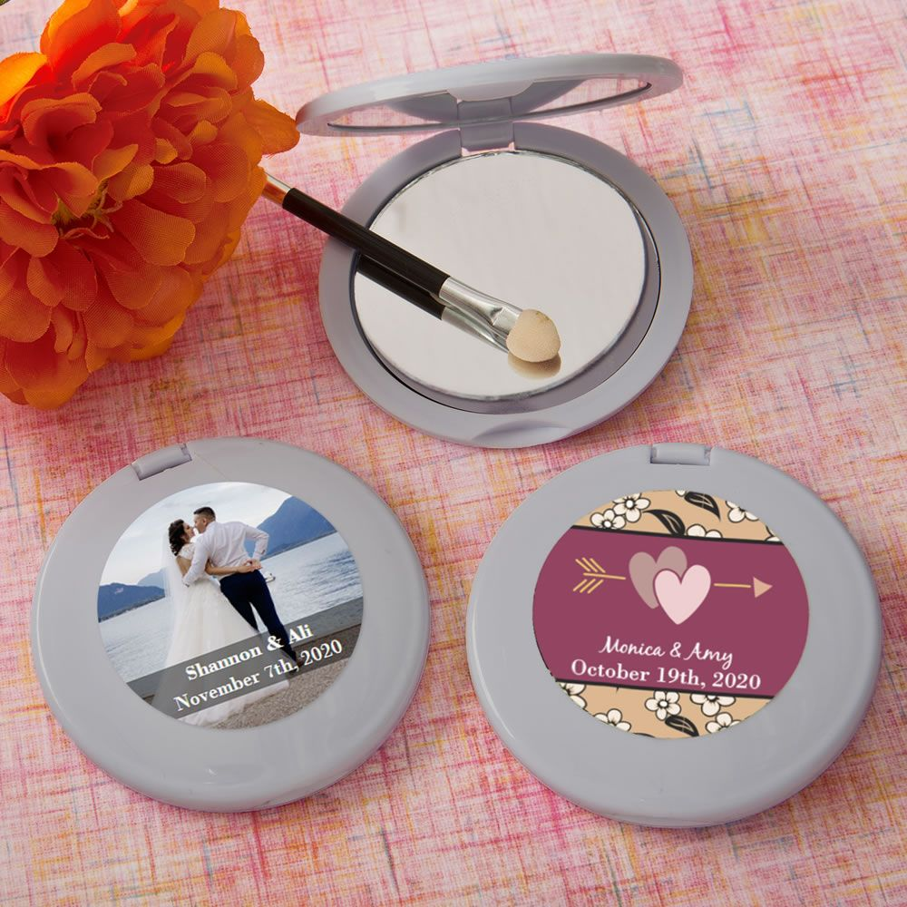 Personalized Collection Silver Mirror Compact Favors