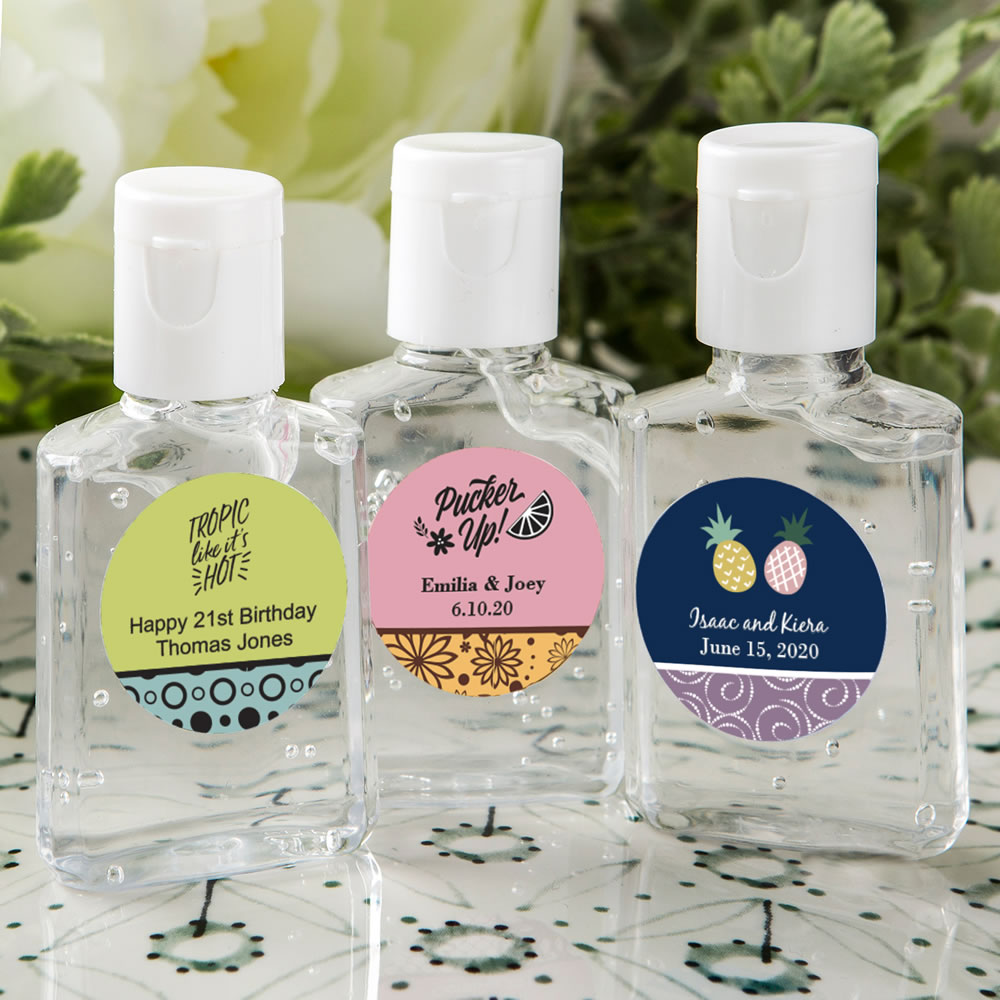 Personalized Expressions Hand Sanitizer Favors - Tropical Design 30 Ml Size