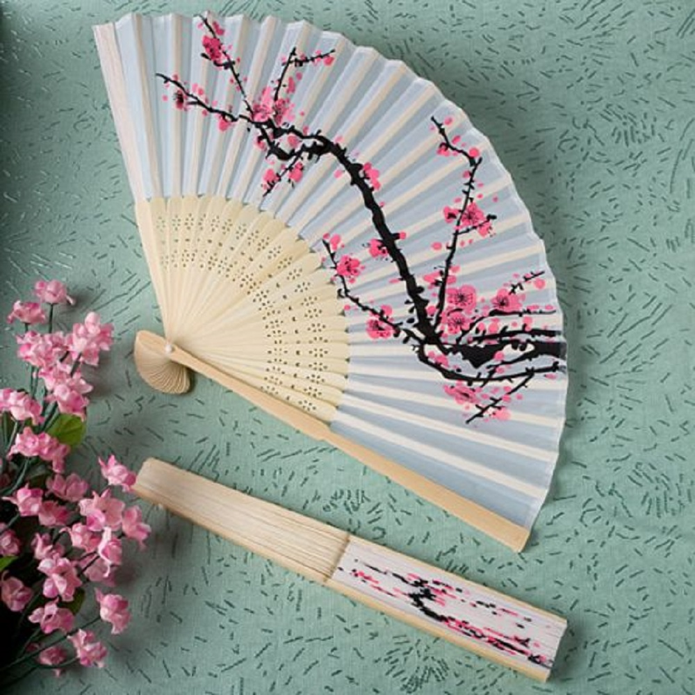 Cherry Blossom Silk Folding Fan