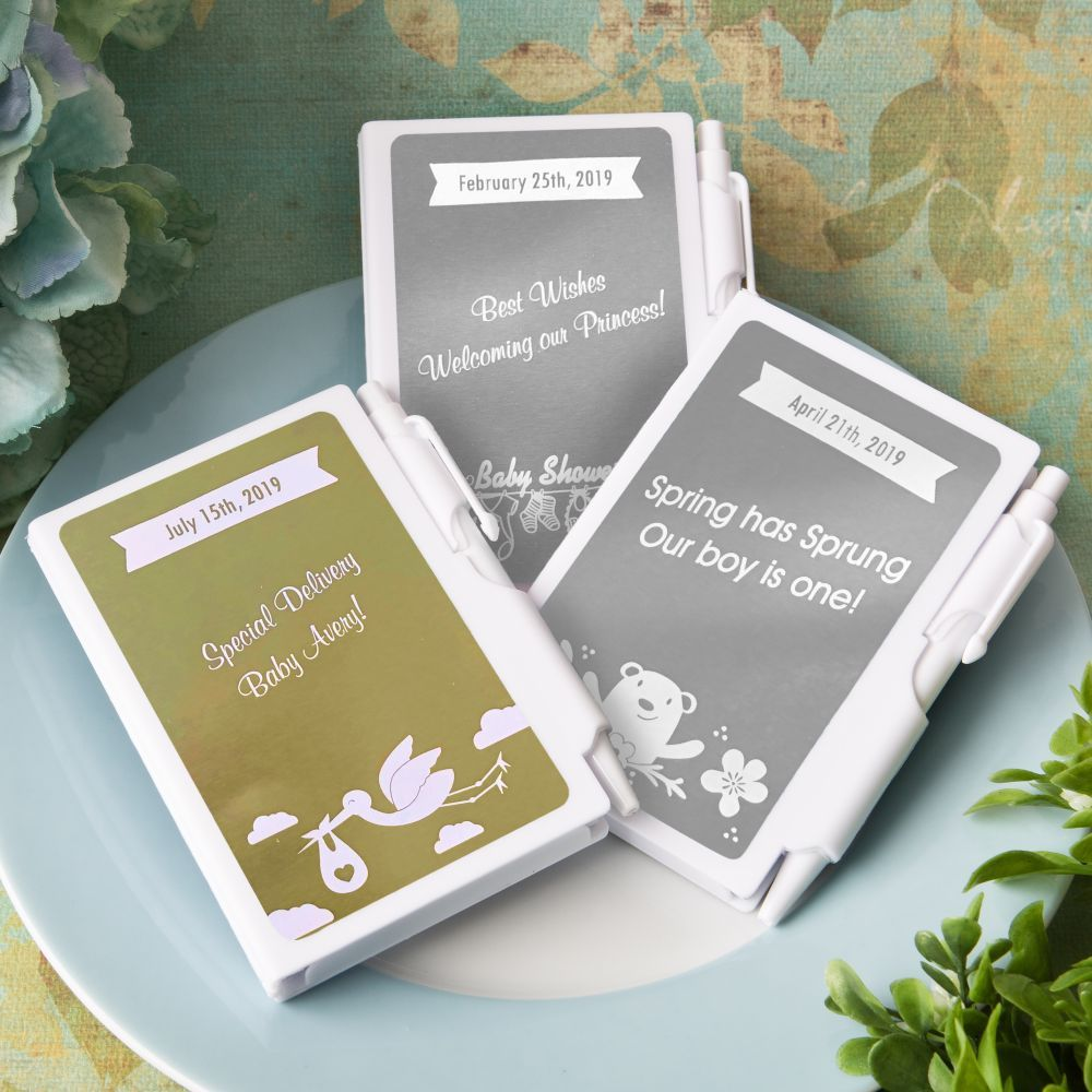 Personalized Metallic Collection Notebook Favors-Baby