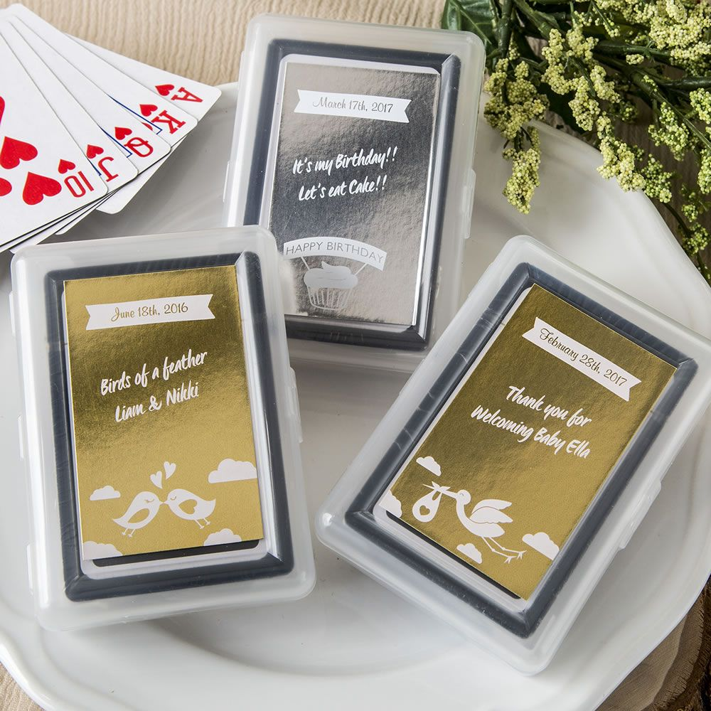 Bulk Packed Personalized Metallic Playing Card Favor