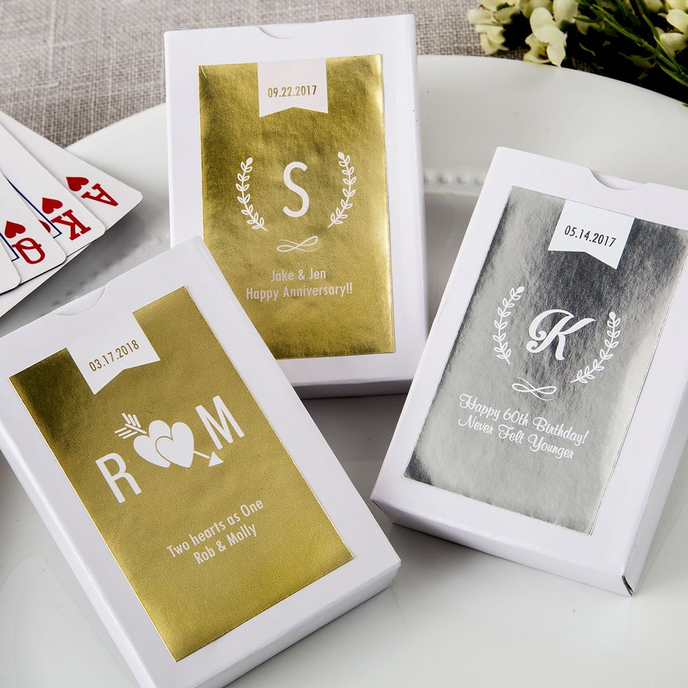 Personalized Metallic Collection Playing Card Favor