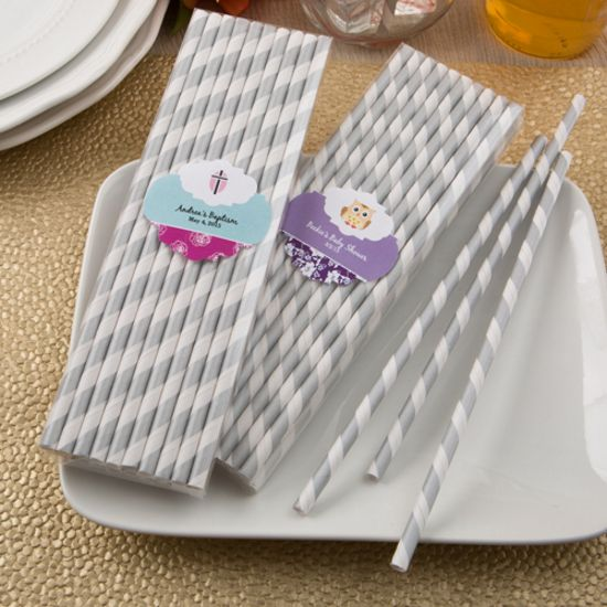 Customized Silver/White Stripe Paper Straws-Baby