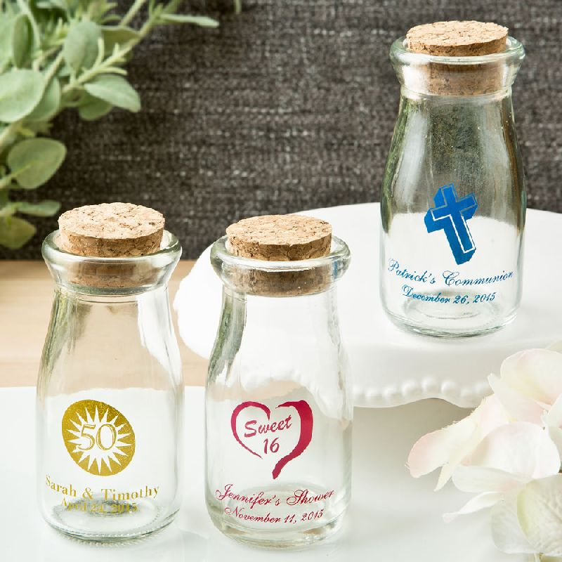 Personalized Vintage Milk Bottles with Round Cork Top - Celebrate