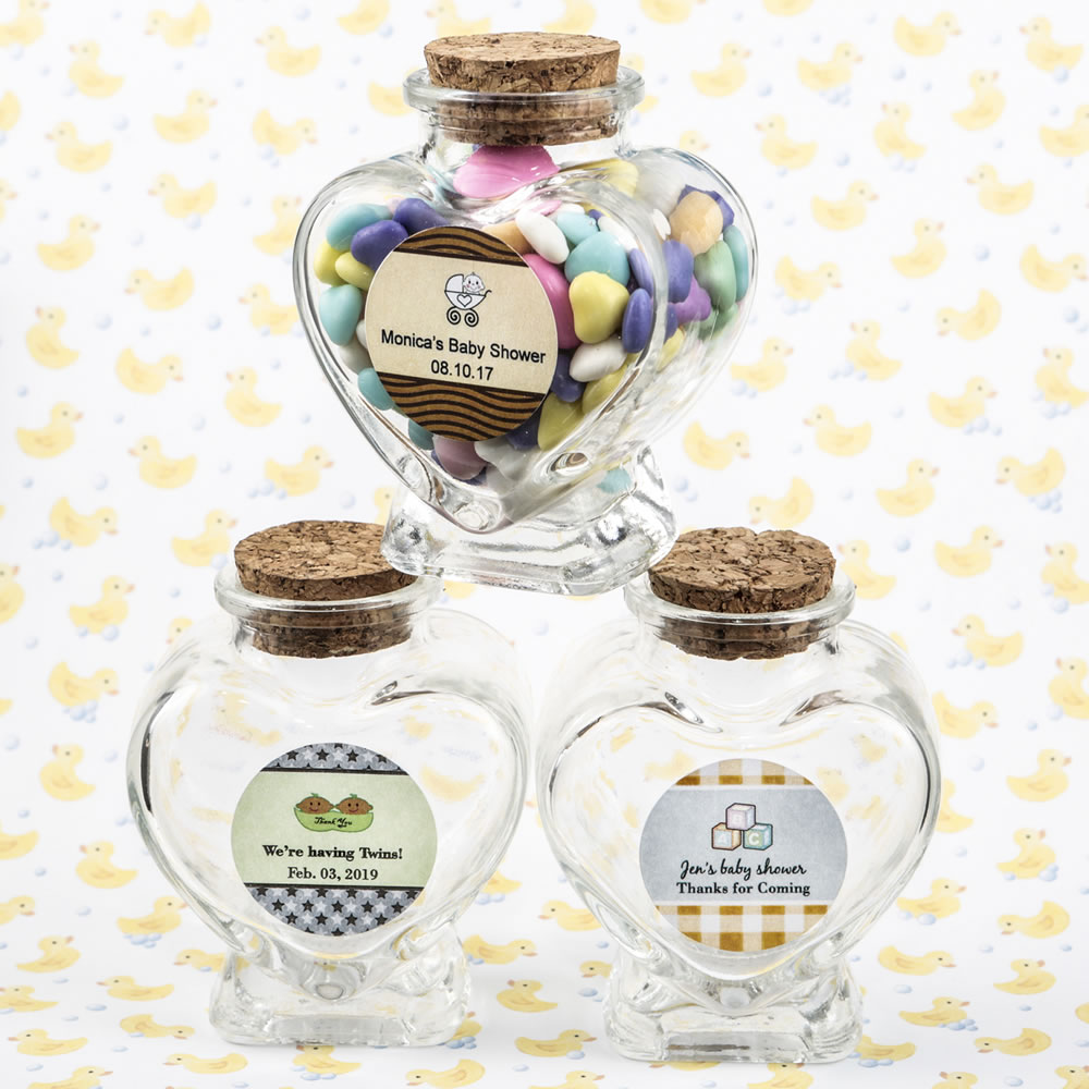 Personalized Collection Heart Shaped Glass Jars - Baby