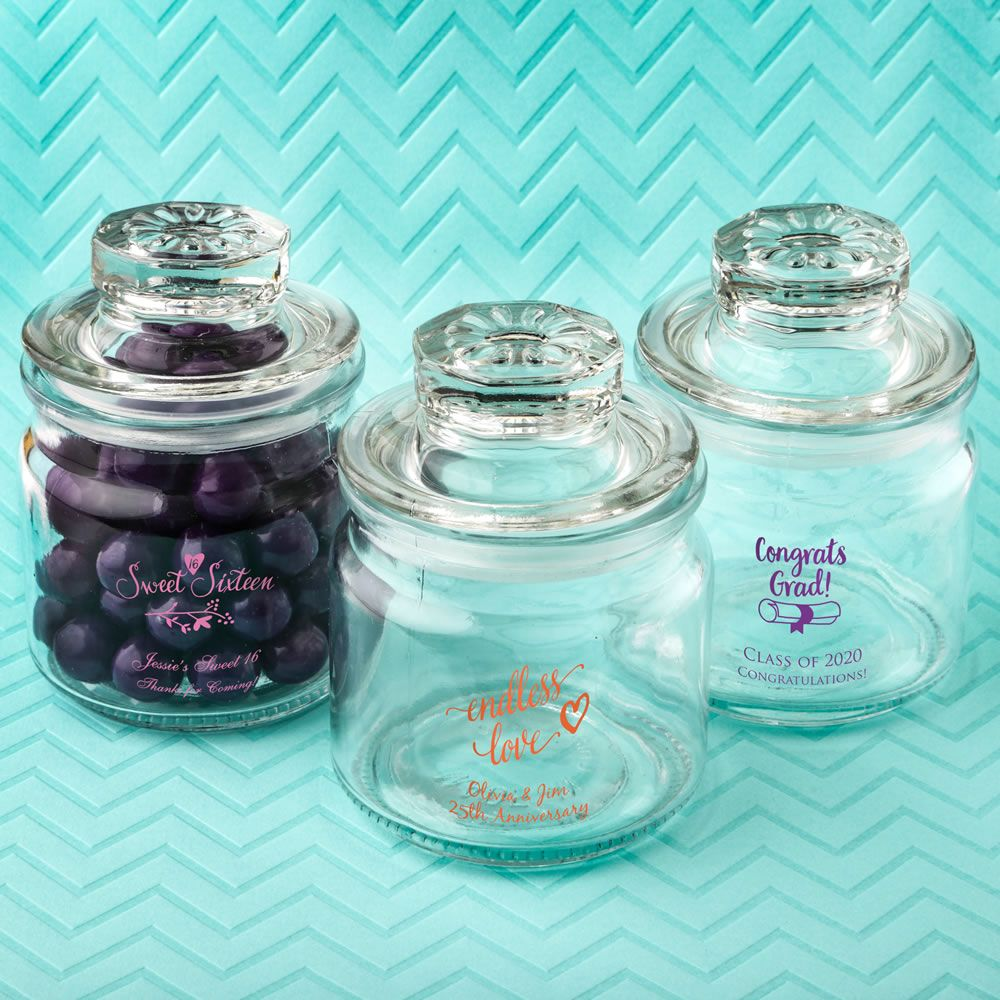 Screen Printed Glass Jar With Sealed Cover-Misc