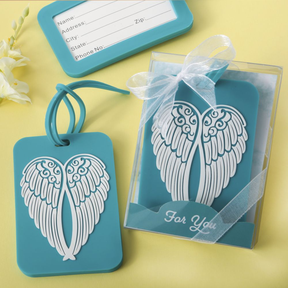 Turquoise Angel Wing Design Luggage Tag