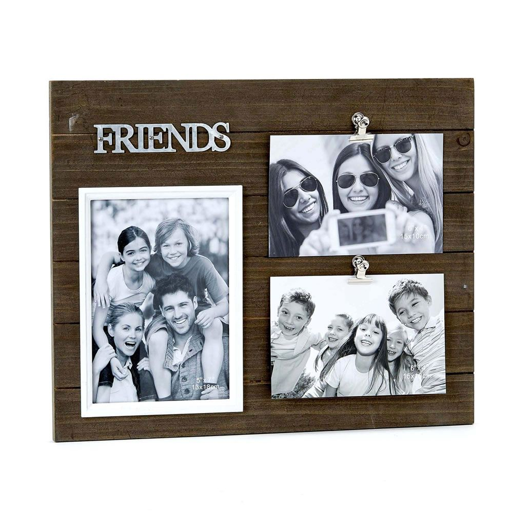 Triple Wood Friends Frame - Holds One 5X7 And Two 4X6 Photos