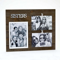 Triple Wood Sisters Frame - Holds One 5X7 And Two 4X6 Photos