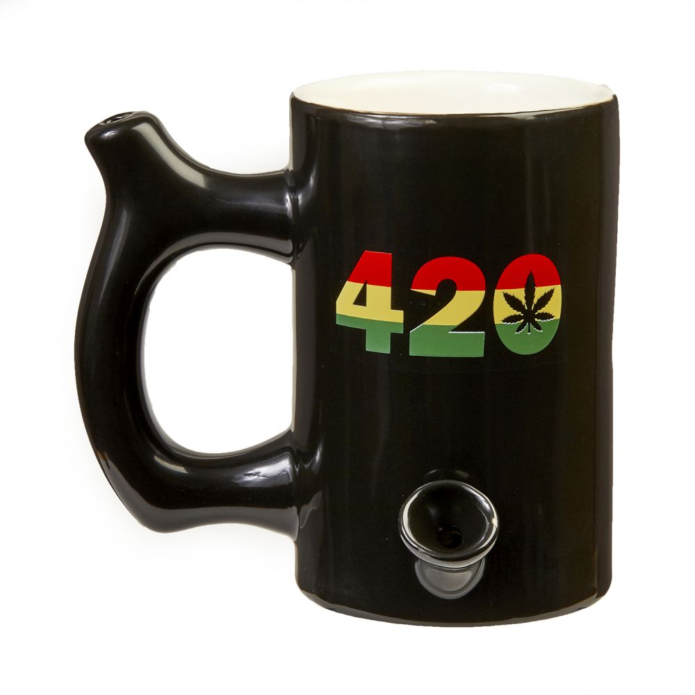 420 Mug - Black Mug with Rasta Colors