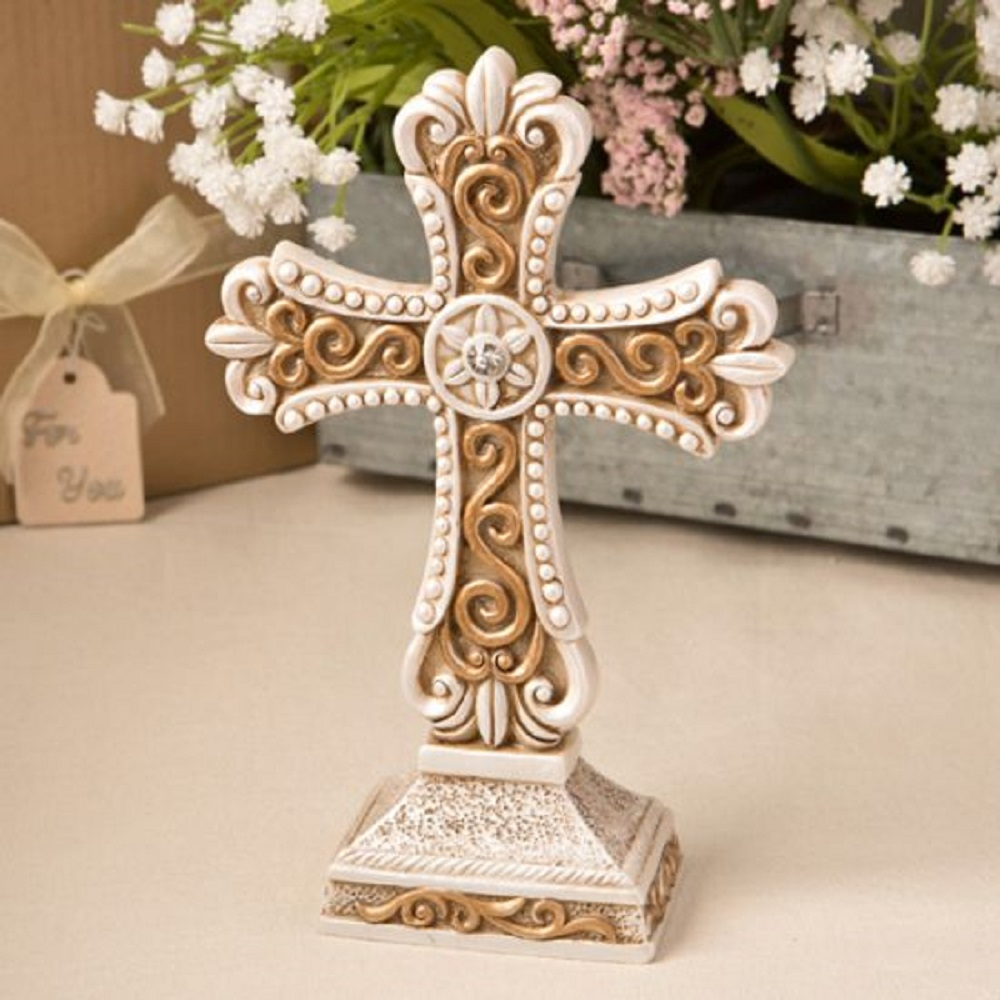Beautiful Antique Ivory Cross Statue w/Matte Gold Detailing