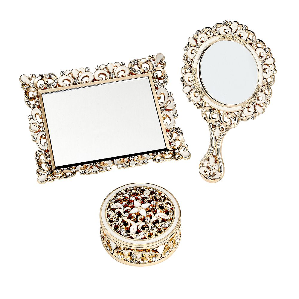 Vanity Set 3 Piece Set - Covered Box, Hand Mirror, Mirror Tray - Champagne Gold