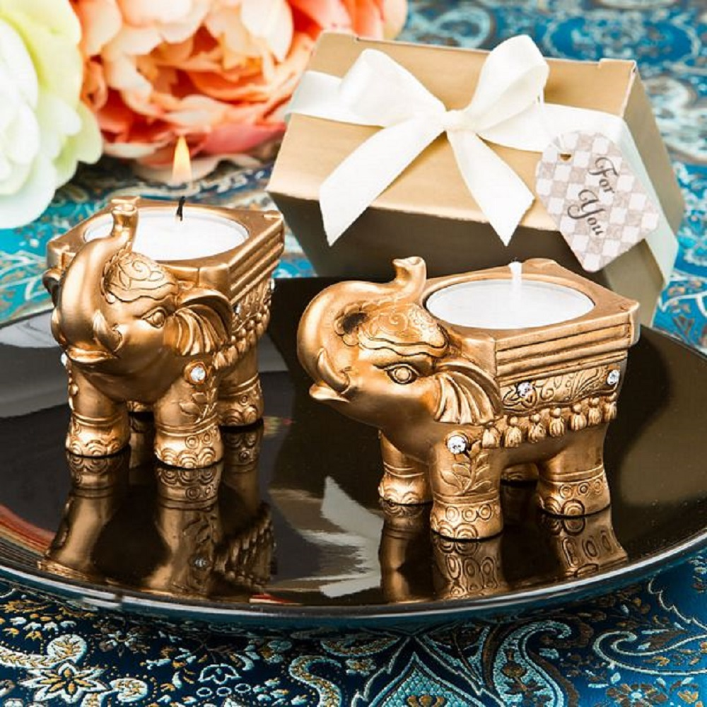 Gold Good Luck Indian Elephant Candle Holder   Fashioncraft