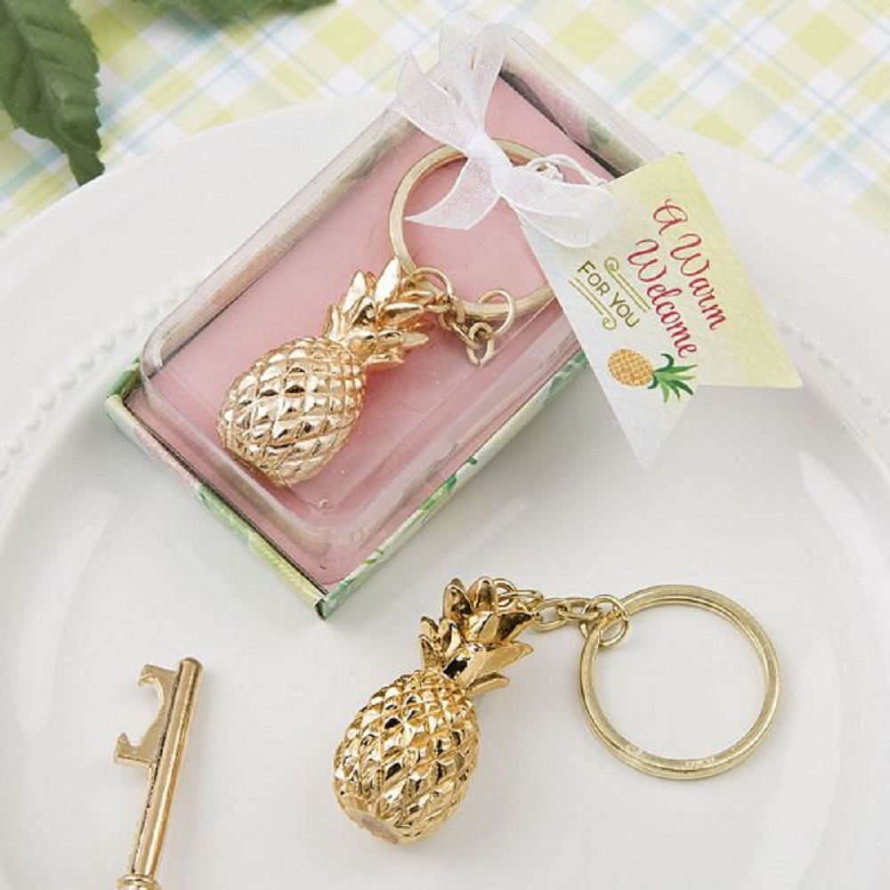 Gold Pineapple Themed Key Chain