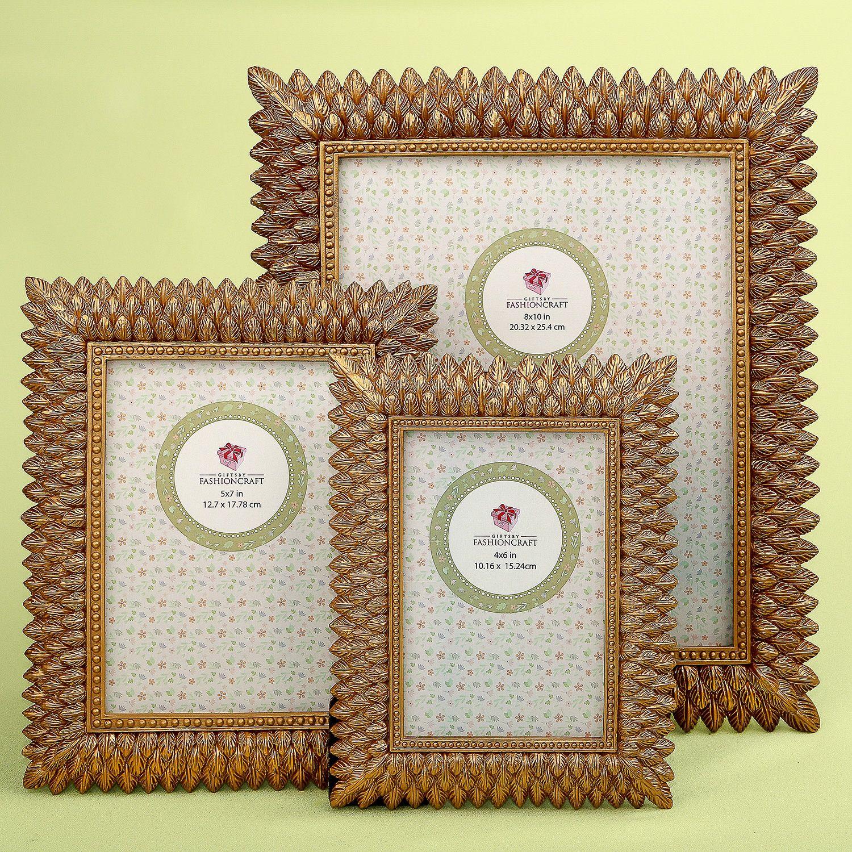 Set of 3 Brushed Gold Leaf Frames by Fashioncraft|fashion craft|