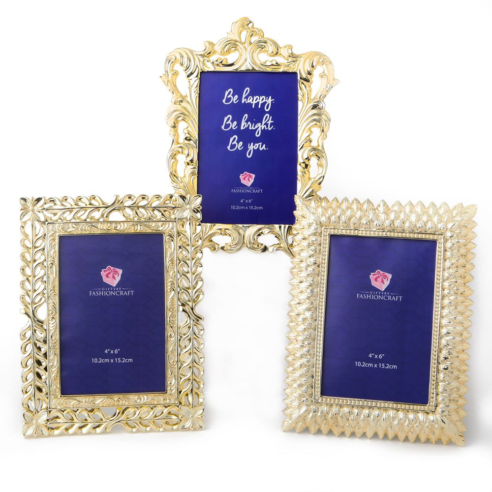 Electroplate Gold 4X6 Frames - 3 Assorted Styles