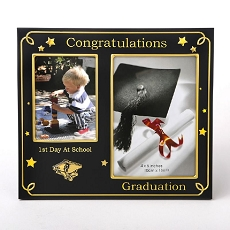 Black With Gold - Graduation Double Frame