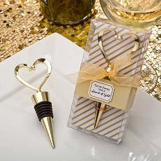Gold Heart Design Metal Bottle Stopper - Fashioncraft