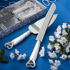 Hearts Design Knife/Server Set