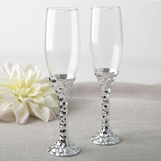 Hammered Design Silver Stem Toasting Flute Set