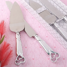 Two Piece  Heart Themed Cake Knife Set With Stainless Steel Blades
