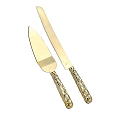 Gold Hammered Design Cake Knife And And Server Set