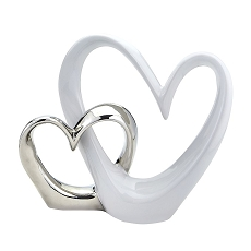Double Open Heart Cake Topper Silver And White